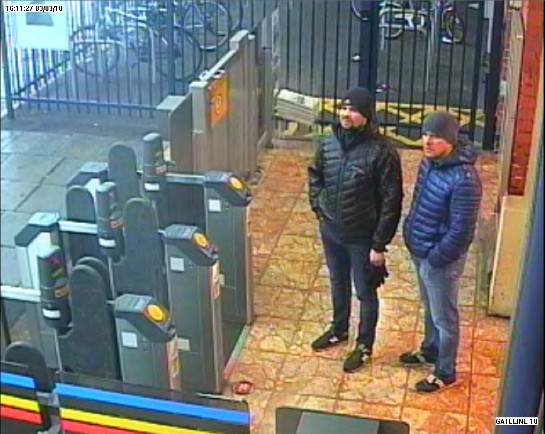 The two suspected Russian agents at a train station in Salisbury