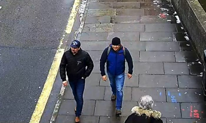 Novichok poisoning suspects Ruslan Boshirov (L) and Alexander Petrov (likely both aliases) are shown on CCTV in the area of the Salisbury home of former Russian spy Sergei Skripal on March 4, 2018. Skripal and his daughter Yulia were poisoned by the lethal nerve agent, but survived. (Metropolitan Police)