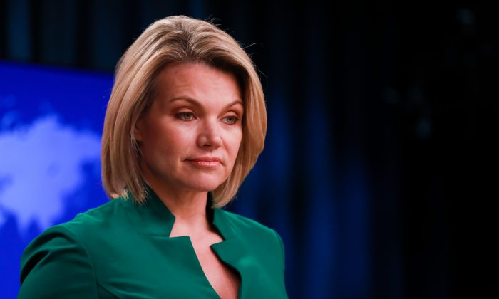 Acting Under Secretary of State for Public Diplomacy and Public Affairs and State Department spokesperson Heather Nauert holds a press briefing at the Department of State in Washington on July 31, 2018. (Samira Bouaou/The Epoch Times)