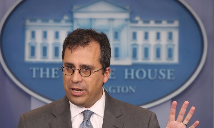 Director L. Francis Cissna of the US Citizenship and Immigration Services (USCIS), speaks during a press briefing at the White House, on Dec.12, 2017. (Mark Wilson/Getty Images)