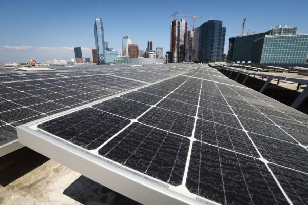Solar panels mounted atop roof