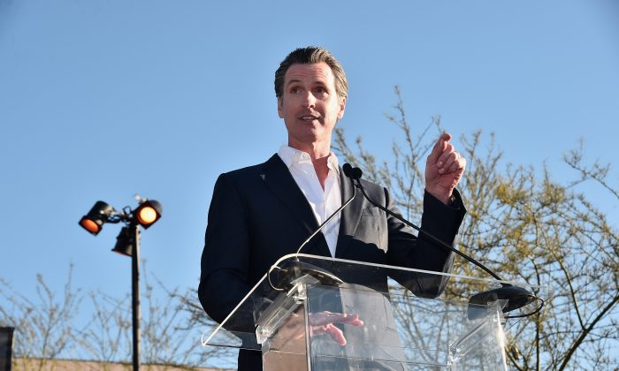 Lt. Governor Gavin Newsome speaks in Beverly Hills, Calif. on Feb. 24, 2017.  (Alberto E. Rodriguez/Getty Images)