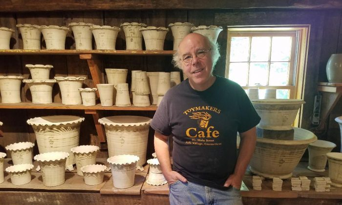 Guy Wolff with his pottery in his Litchfield County home. (Ryan Stewart)
