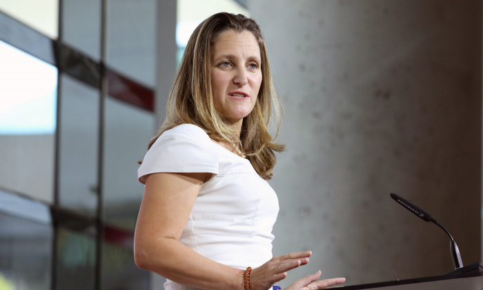 Canadian Foreign Minister Chrystia Freeland takes part in a news conference at the Embassy of Canada in Washington, on August 31, 2018. (Chris Wattie/Reuters)