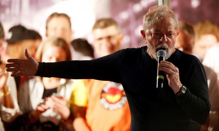 Former Brazilian President Luiz Inacio Lula da Silva speaks during a rally in Curitiba, Brazil on March 28, 2018. (Reuters/Rodolfo Buhrer)