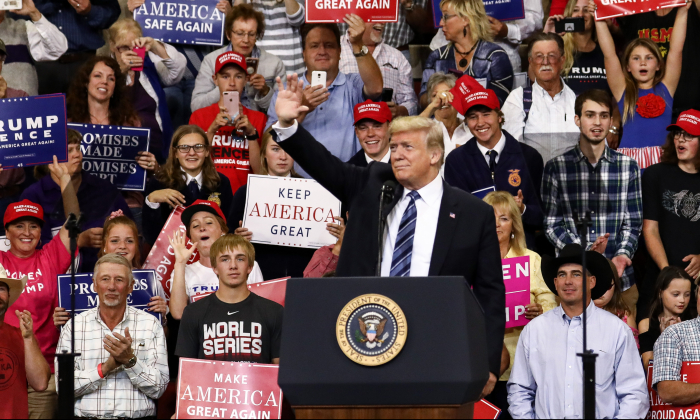 President Donald Trump at his Make America Great Again rally in Billings, Mont., Sept. 6, 2018. (Charlotte Cuthbertson/The Epoch Times)
