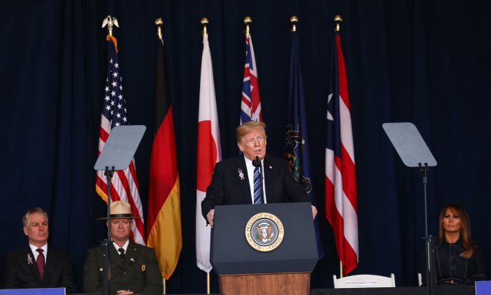 President Donald Trump and First Lady Melania Trump attend the Flight 93 September 11 Memorial Service in  Shanksville, Pa., on Sept. 11, 2018. (Samira Bouaou/The Epoch Times)