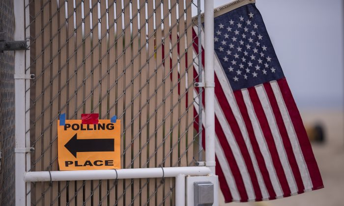 Polling place signage is seen at a Los Angeles County lifeguard headquarters at Venice in Los Angeles, California, on June 5, 2018. (David McNew/Getty Images)