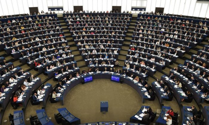 Members of the European Parliament take part in a voting session during a plenary session at the European Parliament in Strasbourg, eastern France, on Sept. 12, 2018. (Frederick Florin/AFP/Getty Images)