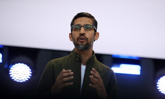 Google CEO Sundar Pichai delivers the keynote address at the Google I/O 2018 Conference in Mountain View, California, on May 8, 2018. (Justin Sullivan/Getty Images)
