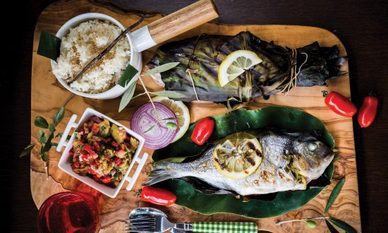 Inihaw na Isda at Ensaladang Talong: Stuffed Fish Grilled in Banana Leaves and Eggplant Salad With Toasted Pancetta