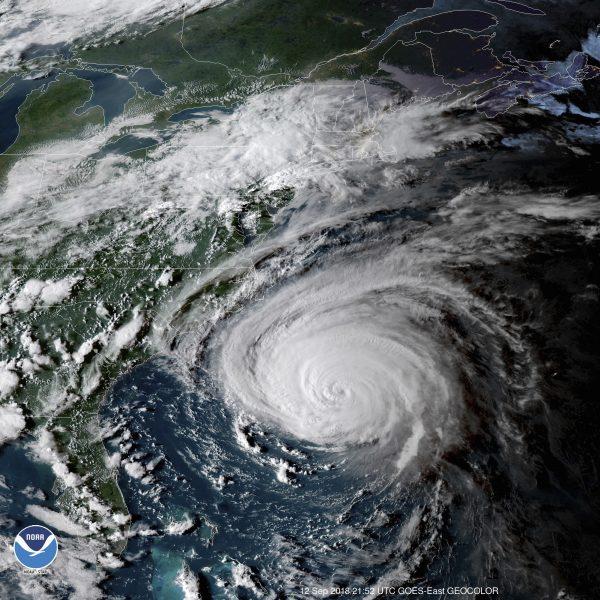 Satellite image of the hurricane