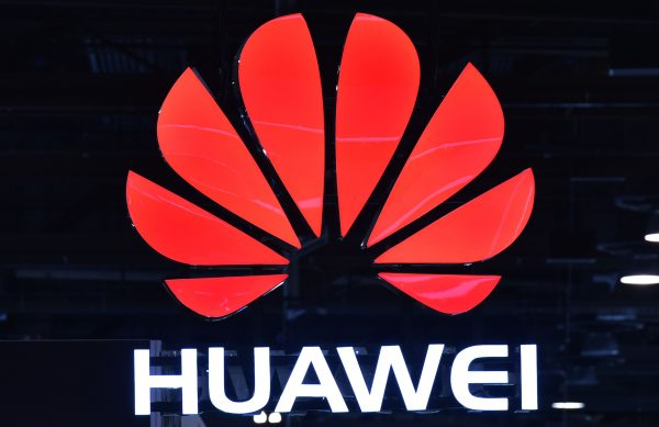 A Huawei sign is seen during the Consumer Electronics Show (CES) 2018 at the Las Vegas Convention Center in Las Vegas, Nevada on January 12, 2018. / AFP PHOTO / MANDEL NGAN (Photo credit should read MANDEL NGAN/AFP/Getty Images)