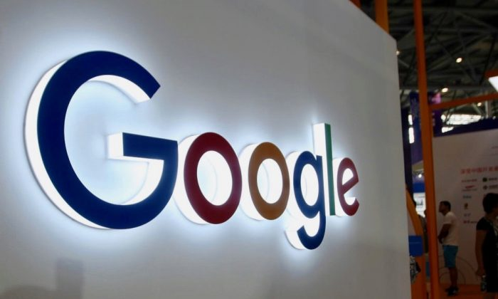 The Google logo on display at the Smart China Expo at Chongqing International Expo Center in southwest China's Chongqing on August 23, 2018. (STR/AFP/Getty Images)