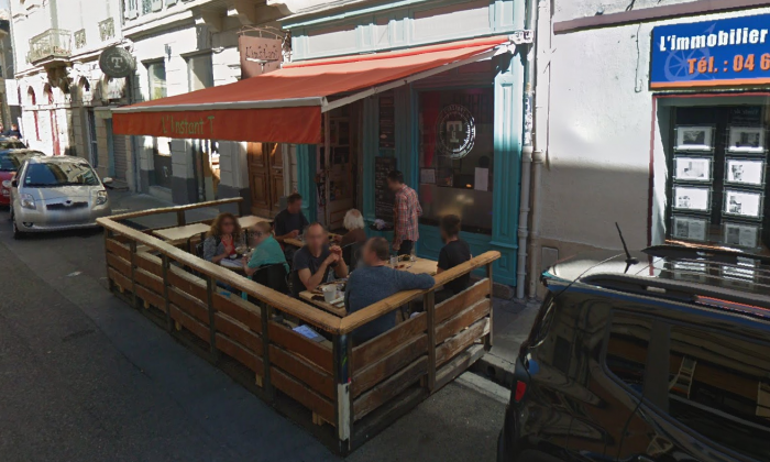 L'Instant T bar in Nimes, southern France, where a man attempted to drive his car into about 50 people who were standing outside, on Sept. 14, 2018. (Google Maps)