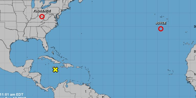 The U.S. National Hurricane Center's Sept. 17 map for tropical disturbances