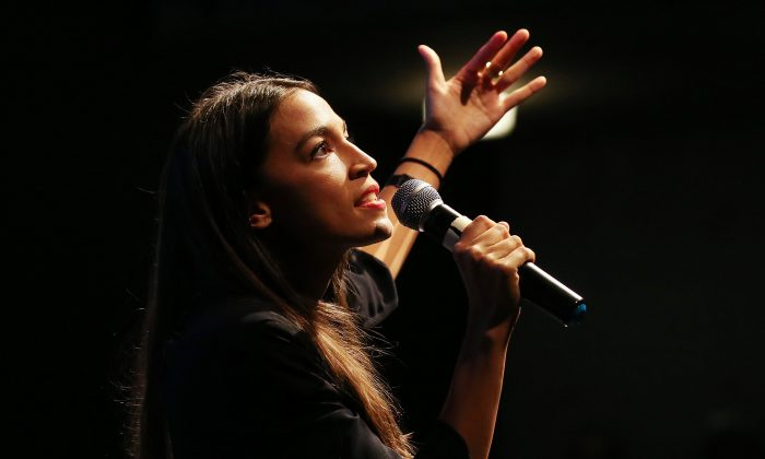 U.S. House candidate Alexandria Ocasio-Cortez (D-NY) speaks at a progressive fundraiser on August 2, 2018 in Los Angeles, California. (Photo by Mario Tama/Getty Images)