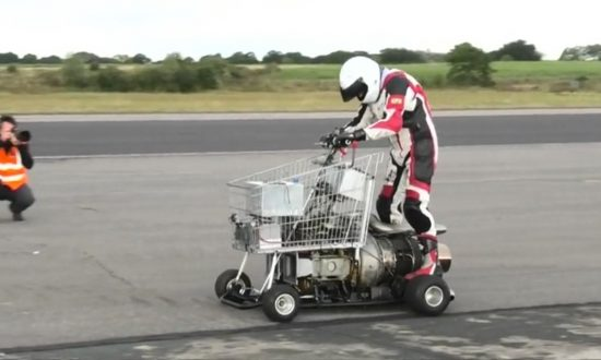 Jet-Powered Shopping Trolley Races a Garden Shed and a Toilet