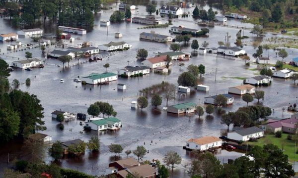 Houses sit in floodwater caused by Hurricane Florence
