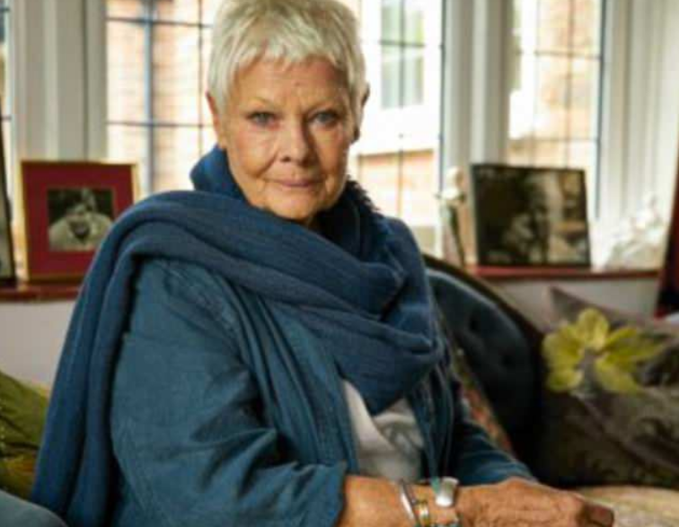 Dame Judi Dench sits on a couch