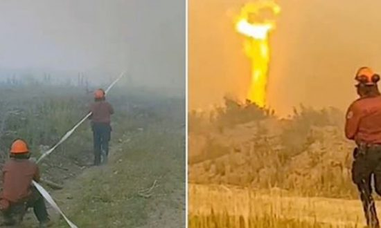 Video: 'Firenado' Grabs Firefighters' Hose