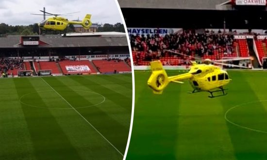 Football Game Cancelled as Air Ambulance Lands on Pitch After Man Falls Ill