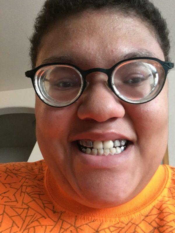Angel with blackened teeth