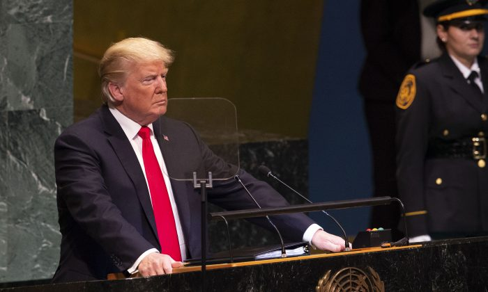 President Donald Trump speaks during the General Debate of the 73rd session of the General Assembly at the United Nations in New York on Sept. 25, 2018. (Bryan R. Smith/AFP/Getty Images)