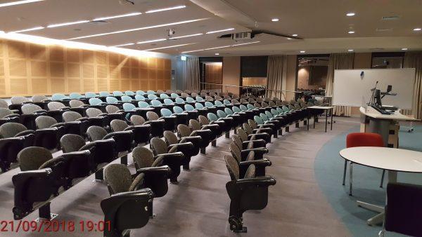 Victoria University's empty theatre seats
