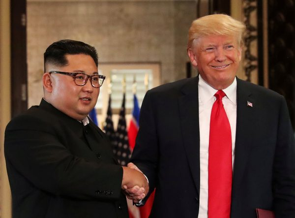 President Donald Trump and North Korea's leader Kim Jong Un during a summit at the Capella Hotel on the resort island of Sentosa, Singapore