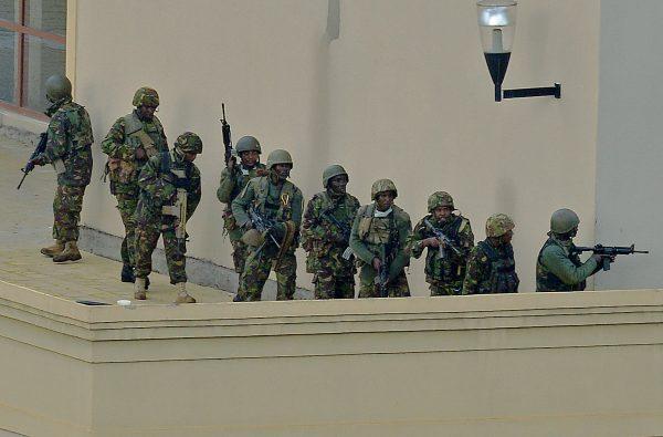 Kenyan soldiers on top of the Westgate shopping mall in Nairobi, Kenya,