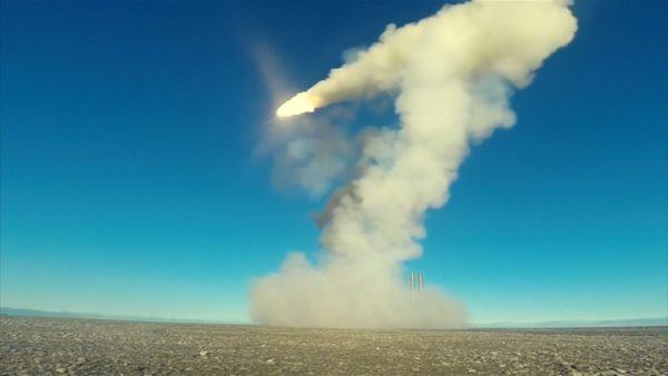 A Russian missile fires in the Arctic