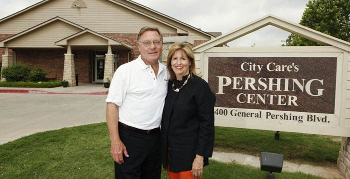 Larry Bross, founder of City Care, and his wife, Maisie, outside of the Pershing Center. (Courtesy of Bryce Daniels)