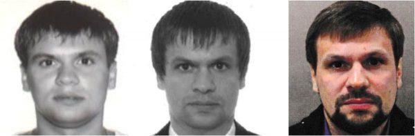 Three passport photos purporting to show Anatoliy Chepiga and Ruslan Boshirov