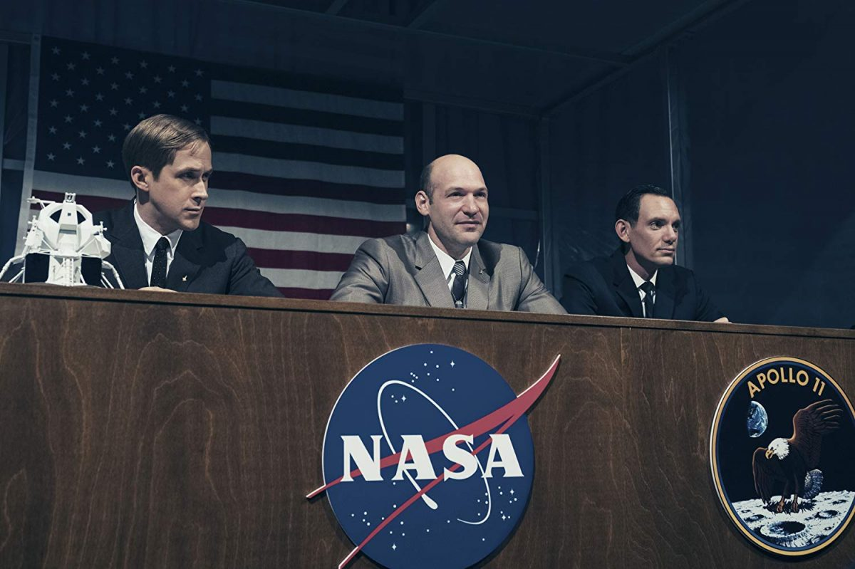 Ryan Gosling, Corey Stoll, and Lucas Hass at NASA panel