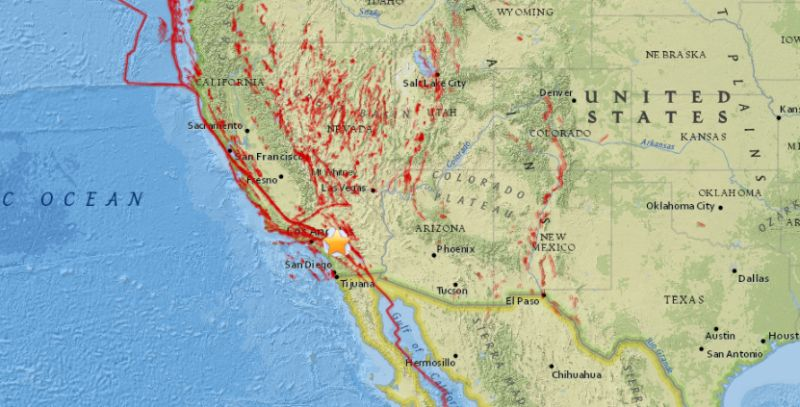 usgs shows earthquake today in california