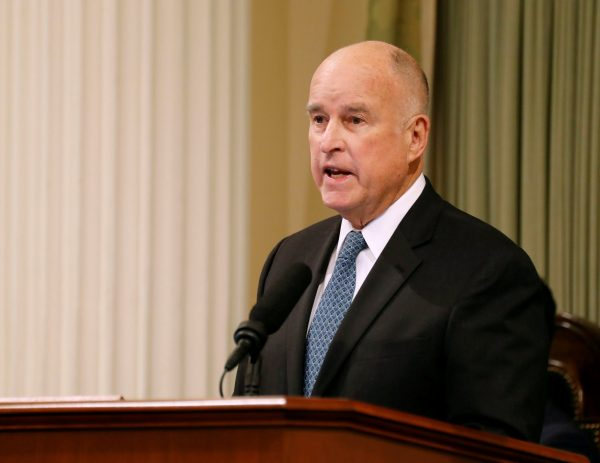 California Governor Jerry Brown delivers his final state of the state address in Sacramento, California, U.S., January 25, 2018.