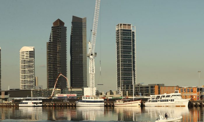A general view of high-rise and apartment buildings in the Docklands in Melbourne, Australia, on June 16, 2017. Victoria has become the first and state in Australia to support China's Belt and Road Initiative, also known as One Belt One Road, after having signed a Memorandum of Understanding on Oct. 25, 2018. (Scott Barbour/Getty Images)