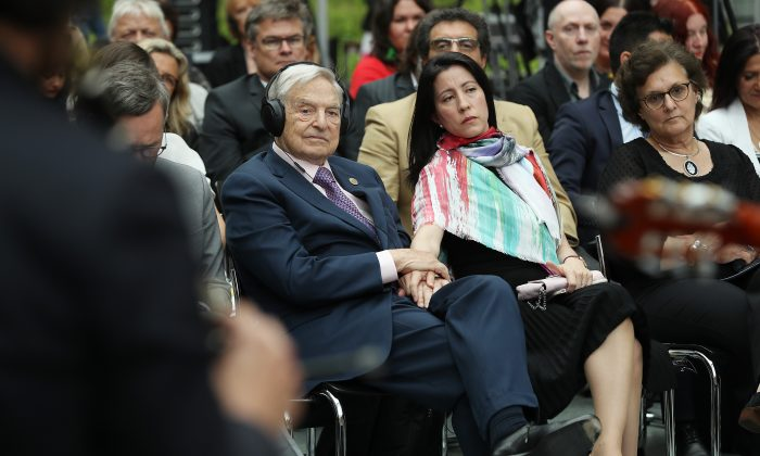 George Soros and his wife Tamiko Bolton in Berlin on June 8, 2017. (Sean Gallup/Getty Images)