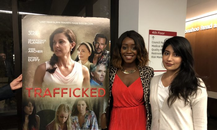 "L-R: Actresses Jessica Obilom and Alpa Banker at a ""Trafficking"" film screening in Glendale, Calif. on Sept. 28. (Annie Wang/The Epoch Times)"