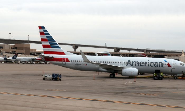 An American Airlines airline plane is seen on the tarmac at Phoenix Sky Harbor International Airport on Sept. 19, 2016, in Phoenix. (Daniel Slim/AFP/Getty Images)