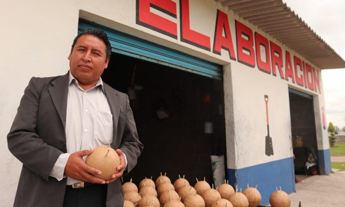 Juventino Luna, town hall representative of Tultepec, with bomba fireworks at a regulated firework shop in Tultepec, Mexico, on Oct. 1, 2018. (Tim MacFarlan/Special to The Epoch Times)