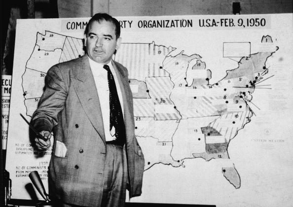 American politician Joseph McCarthy, Republican senator from Wisconsin, testifies against the US Army during the Army-McCarthy hearings, Washington, DC, June 9, 1954. (Getty Images)