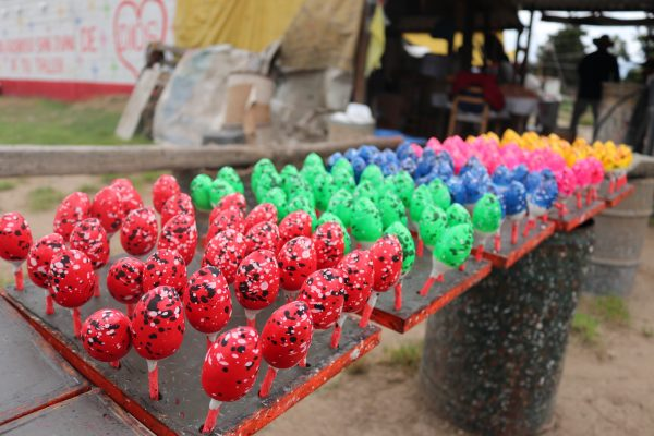 Colourful fireworks at a shop in La Saucera, in Tultepec, Mexico.