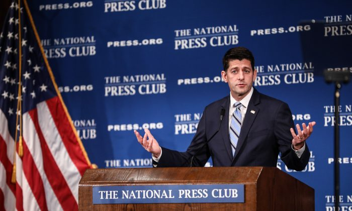 Paul Ryan, Speaker of the House of Representatives, speaks at the National Press Club in Washington on Oct. 8, 2018. (Samira Bouaou/The Epoch Times)