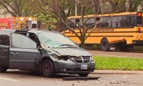 Detroit School Bus Hit by Van