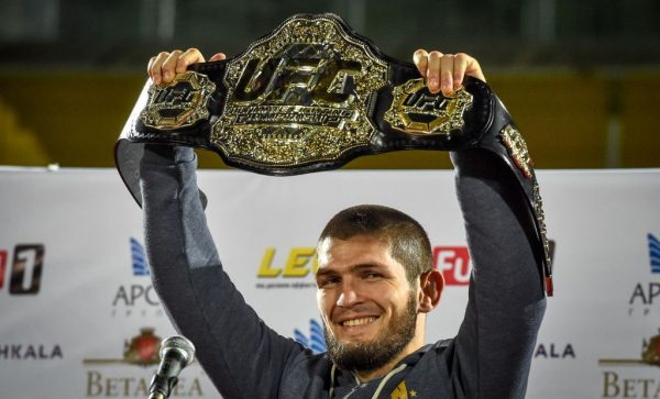 Khabib raises his belt