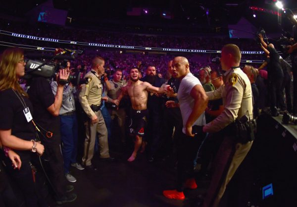 Khabib escorted out of the arena