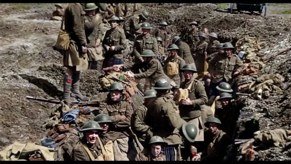 Soldiers in the trenches, WWI footage