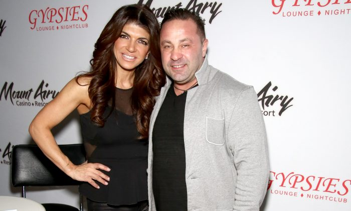 Teresa Giudice, (L) star of The Real Houswives of New Jersey, and Joe Giudice appears at Mount Airy Resort Casino for a book signing and meet and greet in Mount Pocono City on March 5, 2016.  (Paul Zimmerman/Getty Images for Mount Airy Casino Resort)